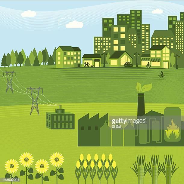 Illustration of a green bio energy graphic