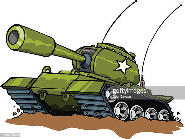 illustration of a green military tank with a white star - armored tank stock illustrations