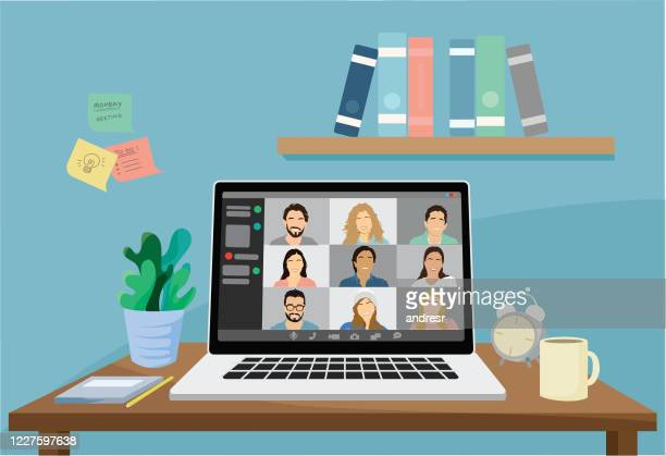 illustration of a group of people in a video conference - adult stock illustrations