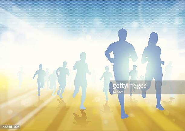 illustration of a group of runners - the end stock illustrations