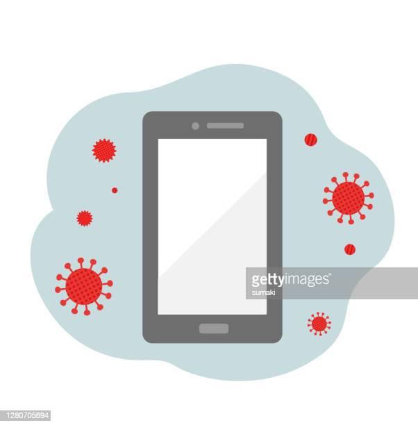 illustration hand holding smartphone