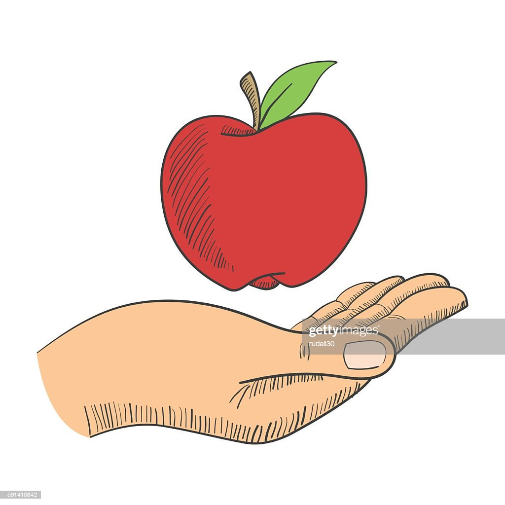 Illustration of a hand with an apple