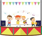 illustration of a happy kids playing music on the stage