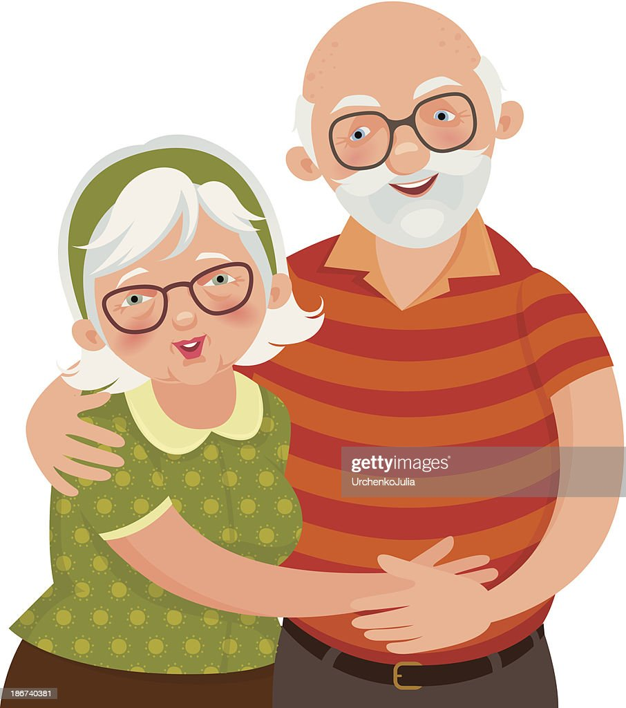 Illustration of a happy white-haired old couple