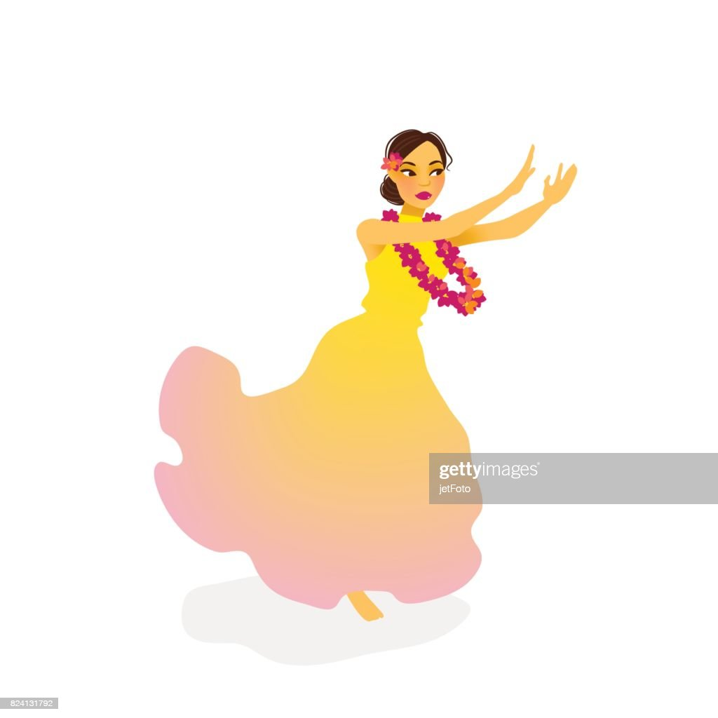 Illustration of a Hawaiian hula dancer woman