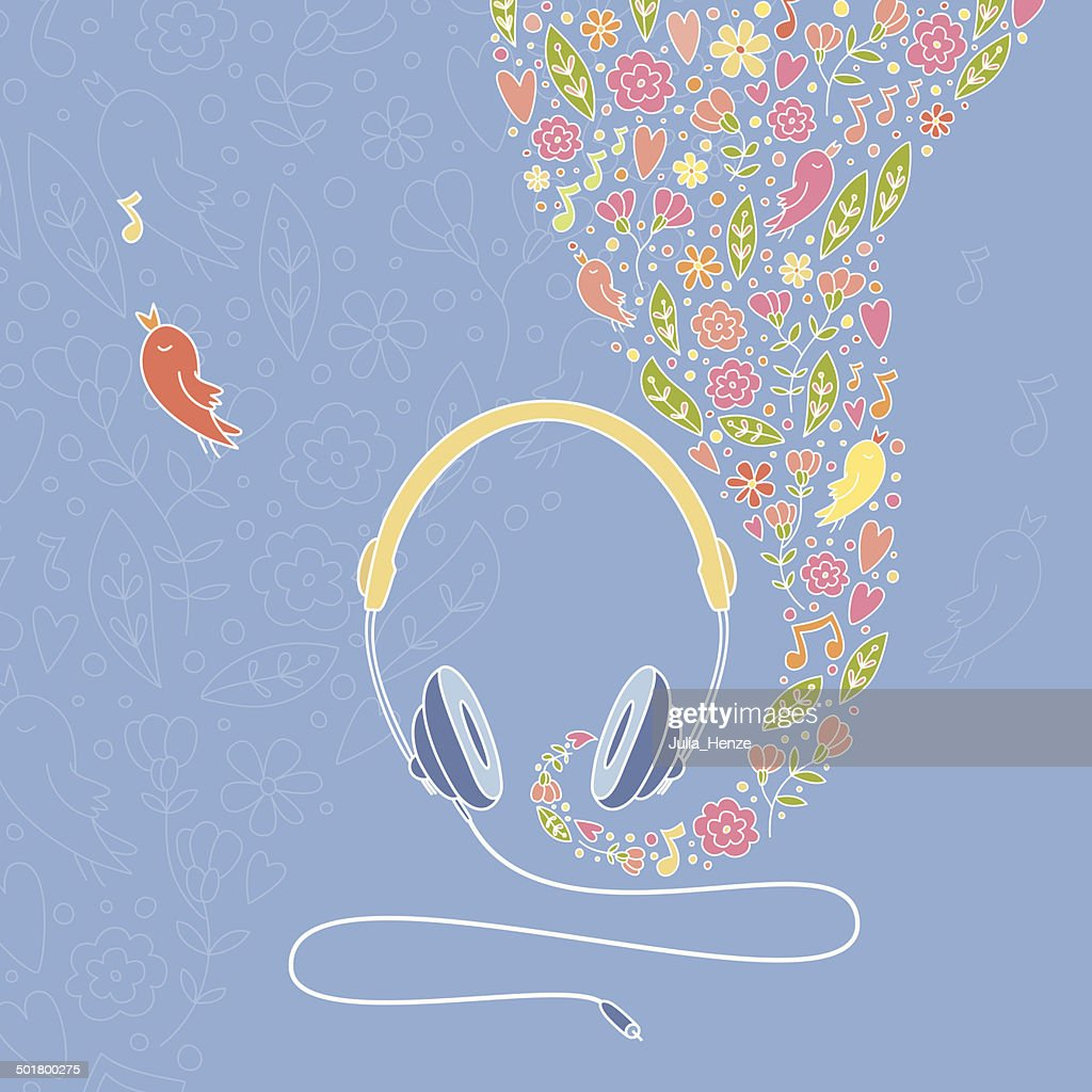 Illustration of a headphone with beautiful floral elements