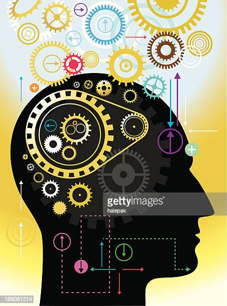 Illustration of a human mind with working gears as thoughts