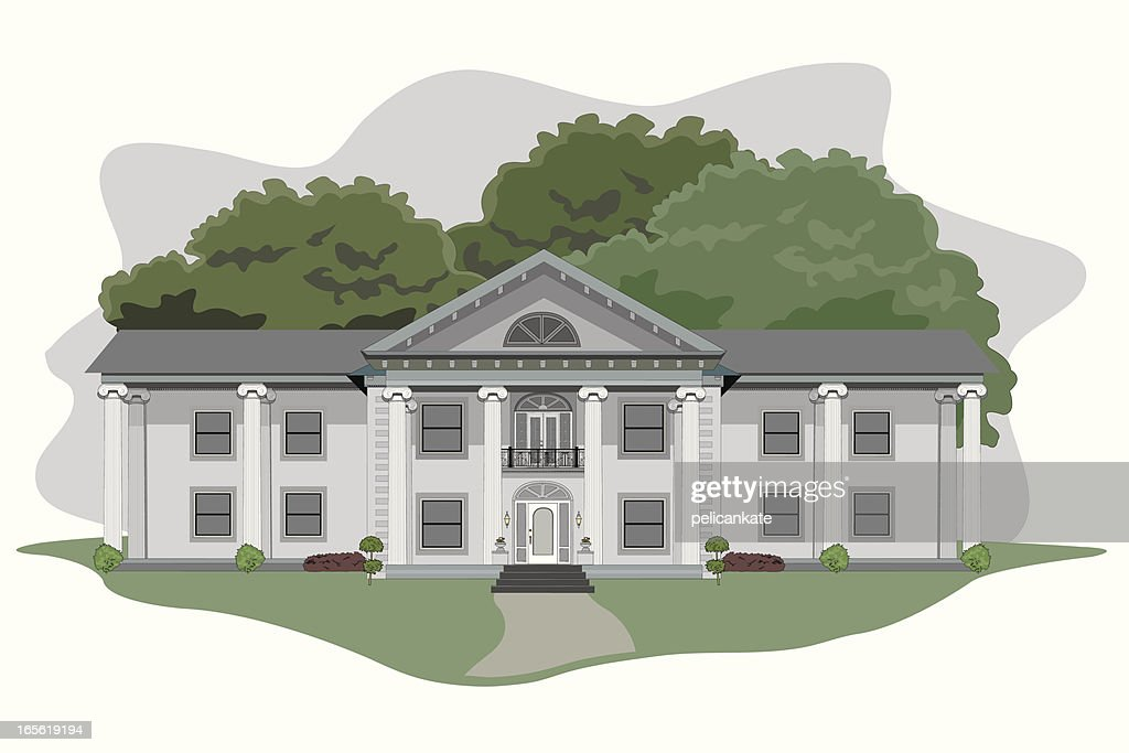 Illustration of a large plantation house