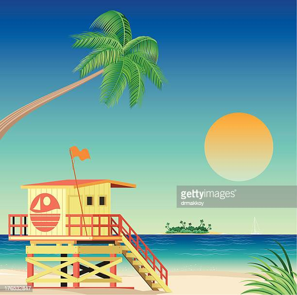 Illustration of a life guard stand on Miami beach