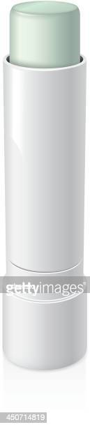 illustration of a light green lip balm in a white tube - lip gloss stock illustrations, clip art, cartoons, & icons