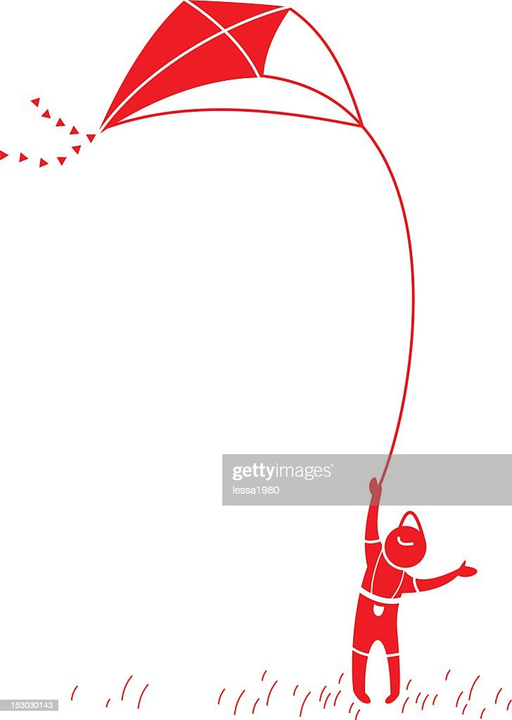 A illustration of a little boy flying a kite