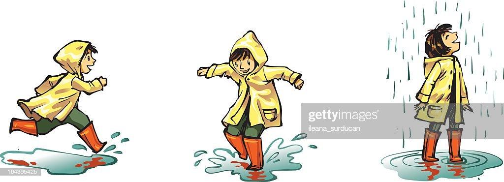 Illustration of a little child splashing around in the rain