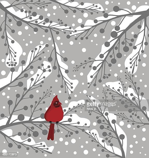 illustration of a lone cardinal bird on a snowy background - cardinal bird stock illustrations, clip art, cartoons, & icons