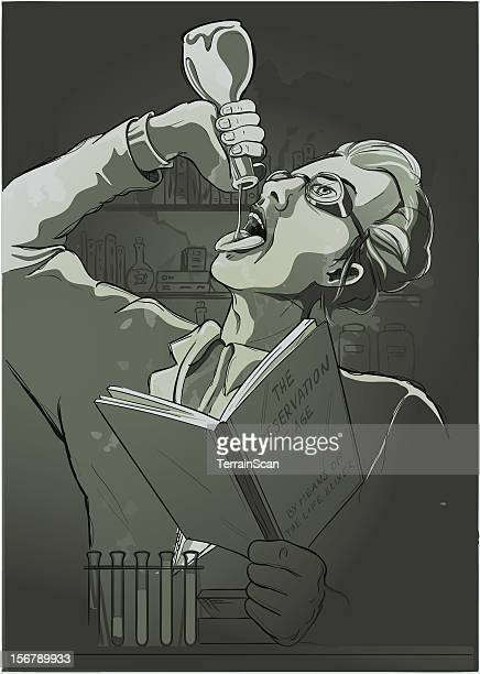 Illustration of a mad Scientist drinking life elixer