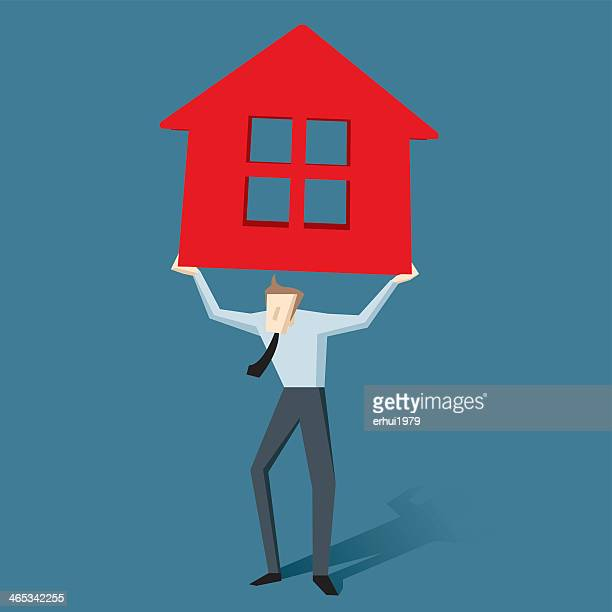 illustration of a man holding red house for mortgage concept - subprime loan crisis stock illustrations