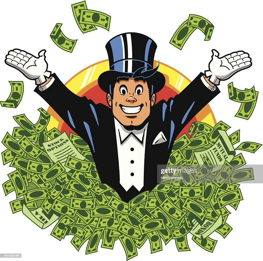 Illustration of a man in a tuxedo swimming in money