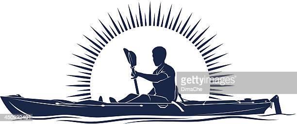 A illustration of a man on a kayak