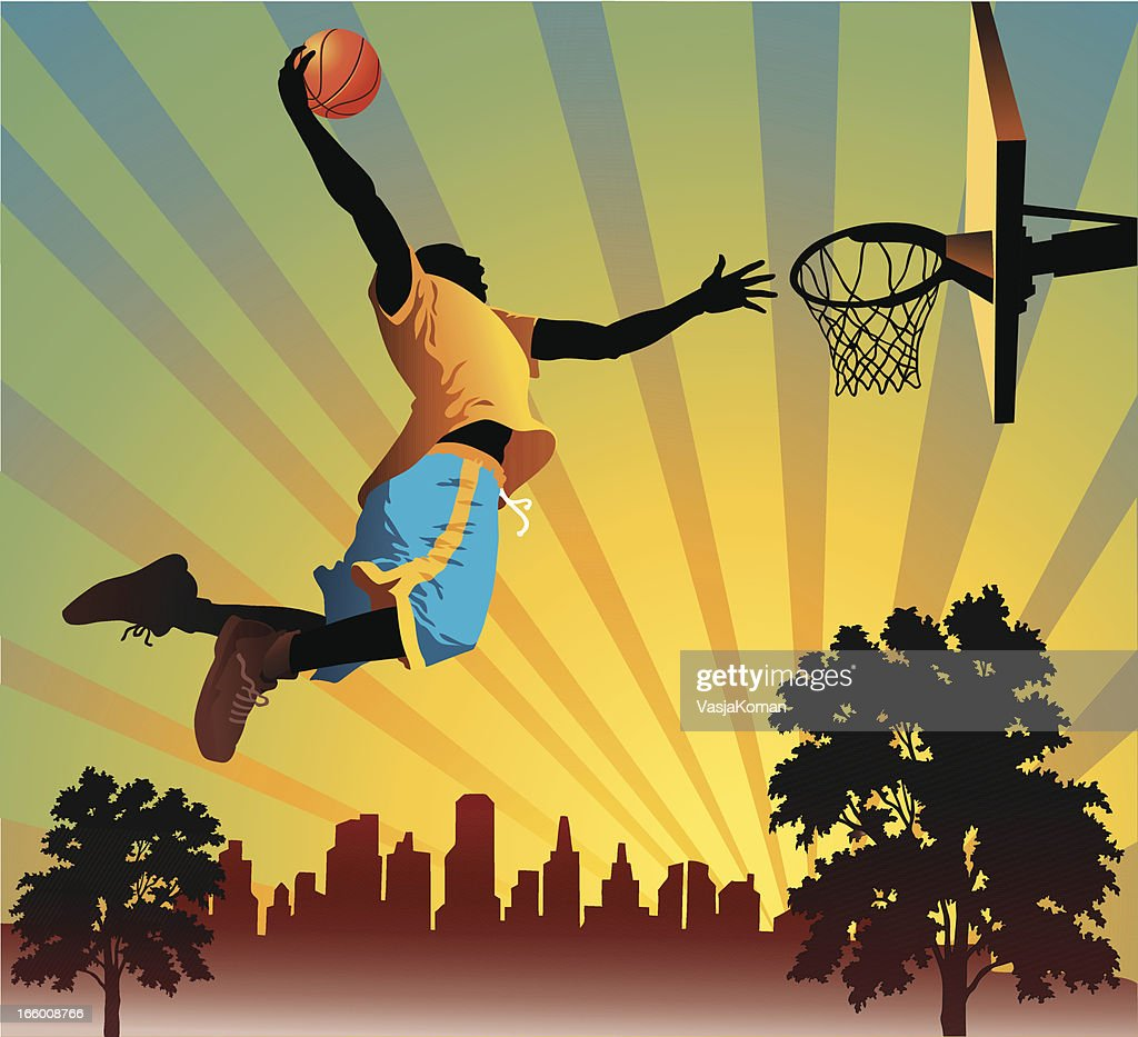 Illustration of a man performing a slam dunk : stock illustration