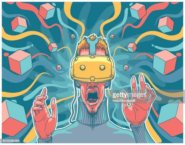 illustration of a man using a virtual reality headset