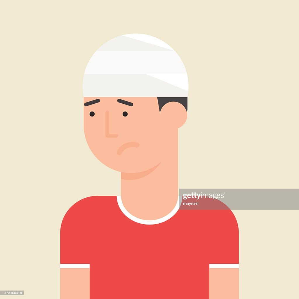 Illustration of a man with bandage on his head