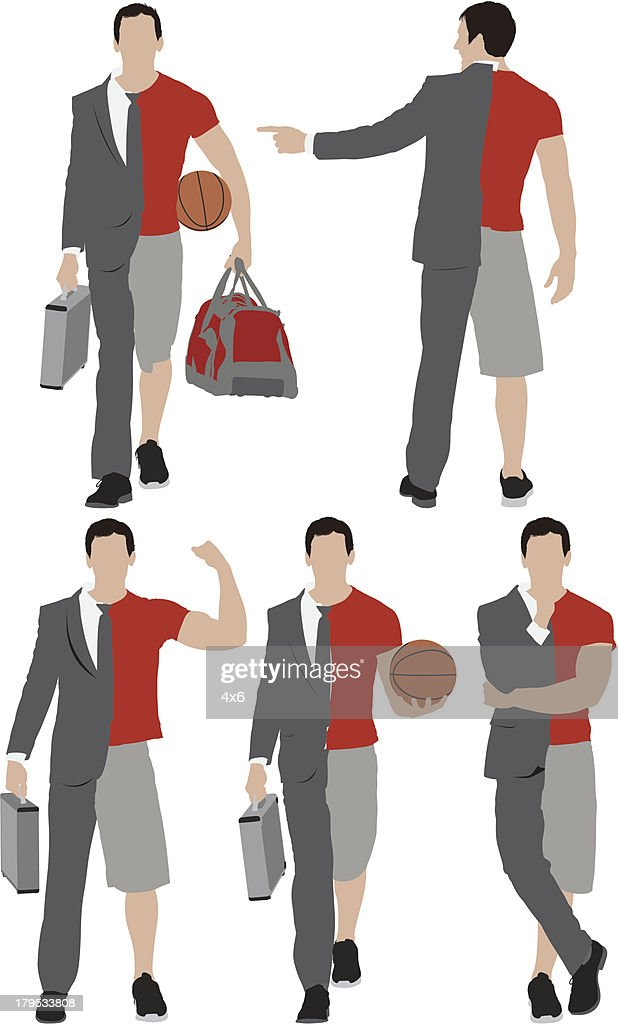Illustration of a man with split personality : stock illustration