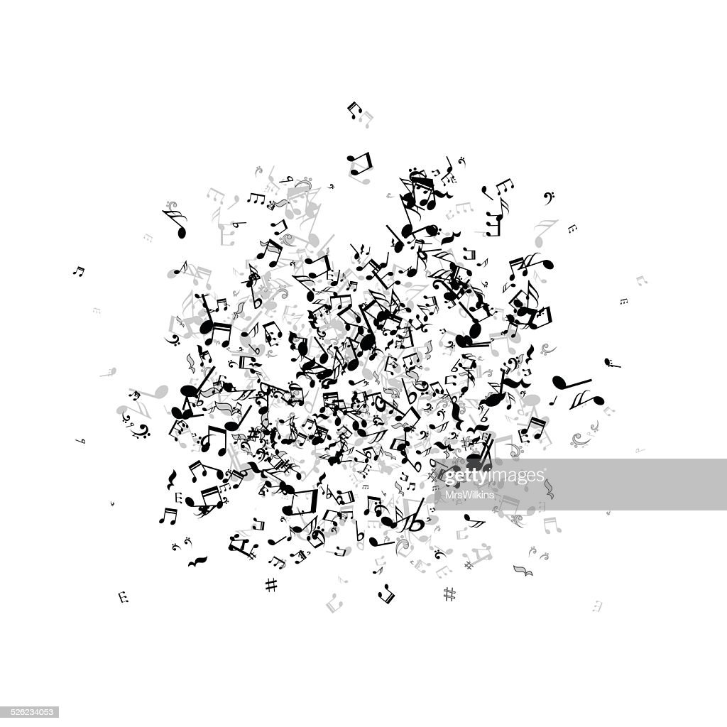 Illustration of a many little messy music notes vector