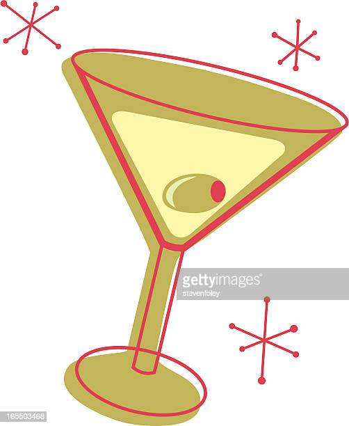 illustration of a martini glass with an olive - cocktail stock illustrations