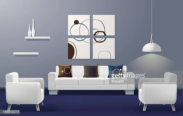 illustration of a modern living room with a white couch - domestic room stock illustrations, clip art, cartoons, & icons