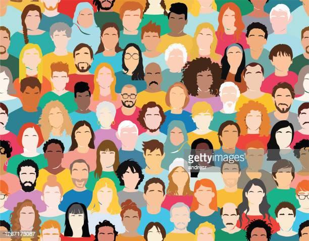 illustrazioni stock, clip art, cartoni animati e icone di tendenza di illustrazione di un gruppo multietnico di persone - gruppo multietnico