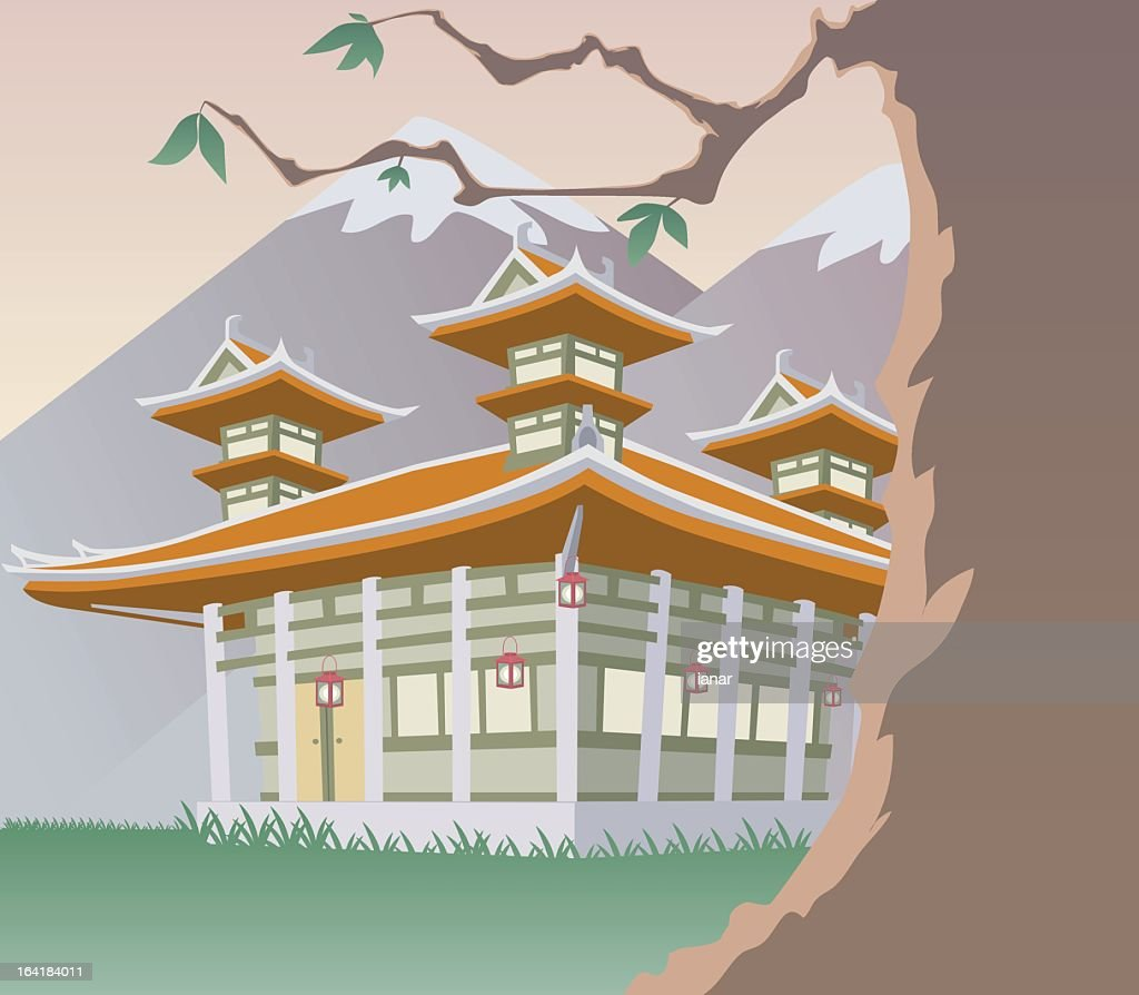 Illustration of a pagoda over snow-capped mountains