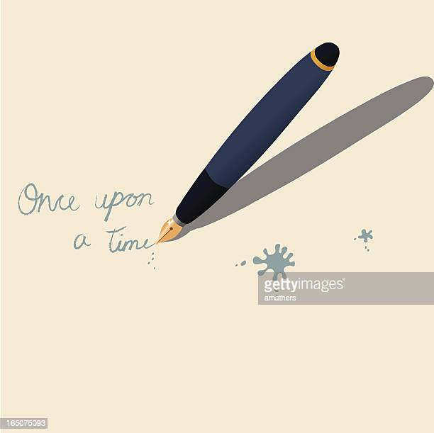 illustration of a pen writing once upon a time on paper - pen stock illustrations