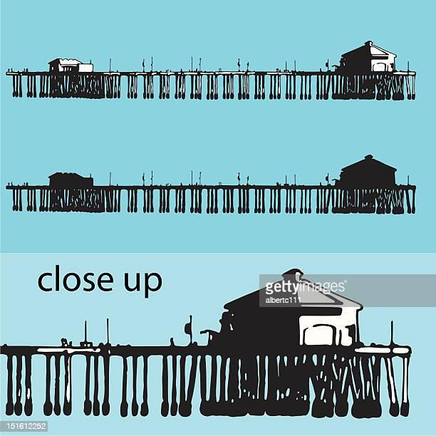 illustration of a pier - huntington beach california stock illustrations, clip art, cartoons, & icons