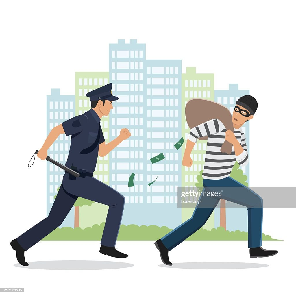 Illustration of a Policeman Chasing a Thief with Stolen Bag