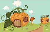 Illustration of a pumpkin house