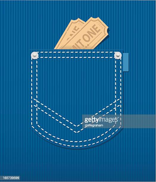 Illustration of a rear jean pocket with two tickets inside