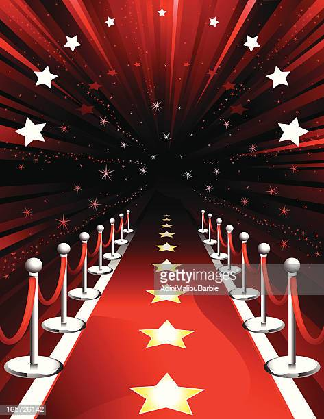 Illustration of a red carpet with stars