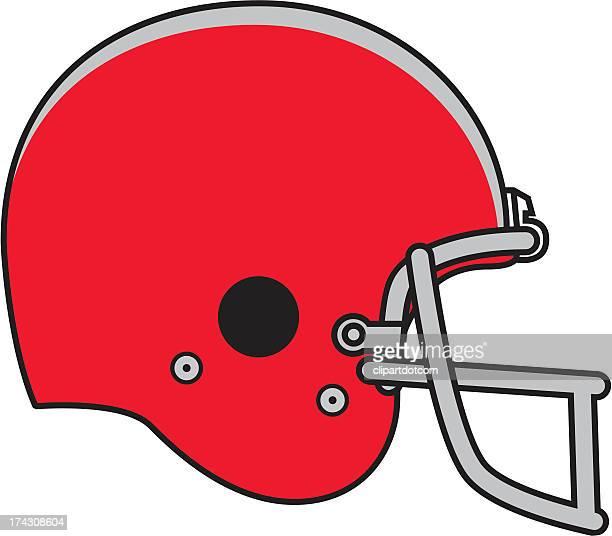 illustration of a red football helmet - football helmet stock illustrations