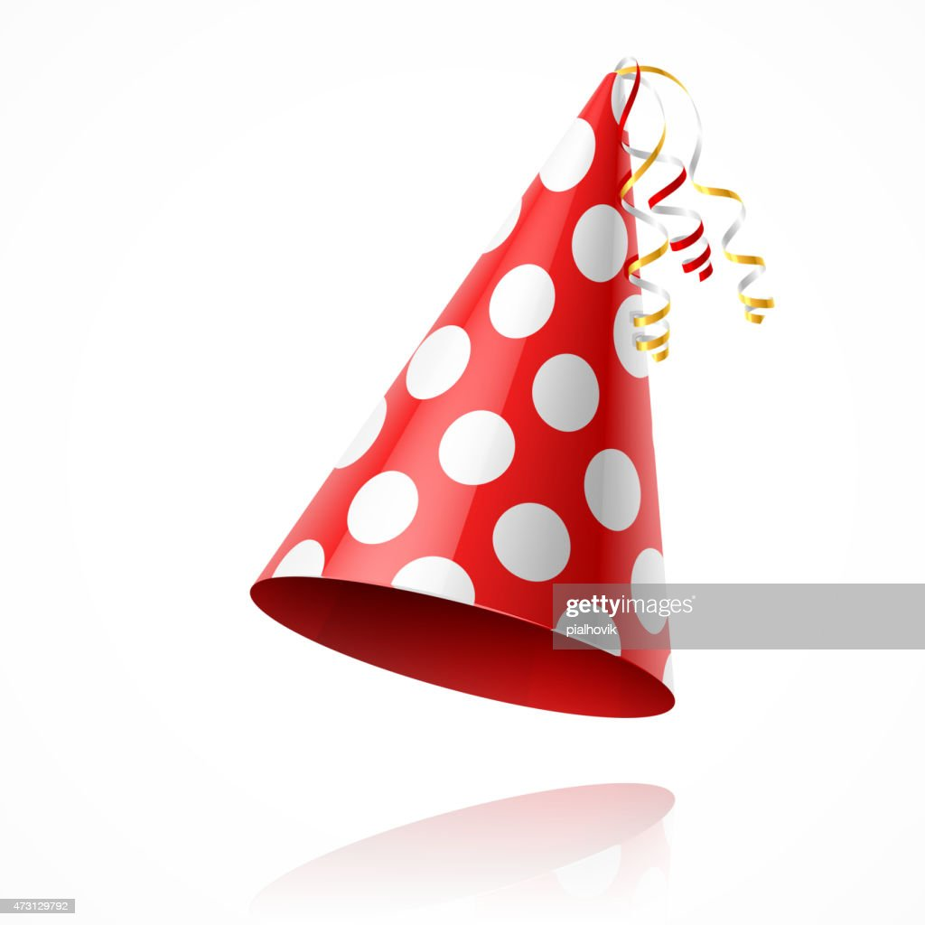 Illustration of a red party hat with white polka dots