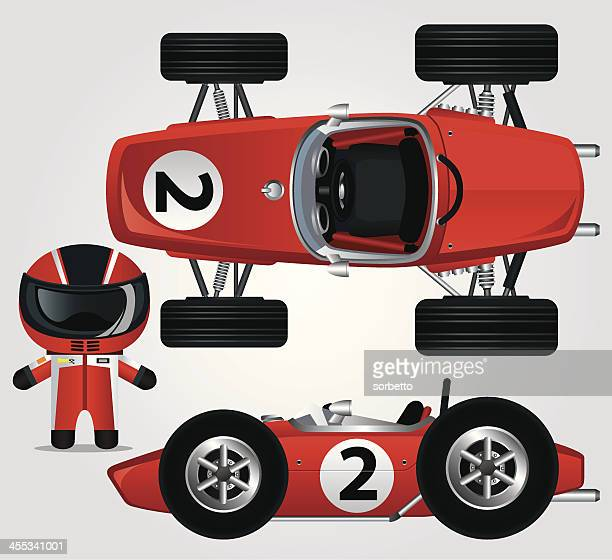 illustration of a red race car and driver - race car stock illustrations, clip art, cartoons, & icons
