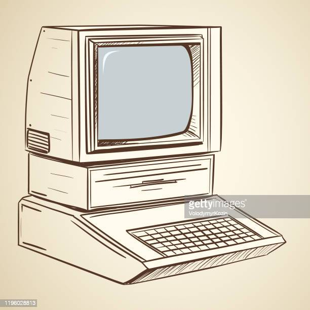 illustration of a retro personal computer - the past stock illustrations