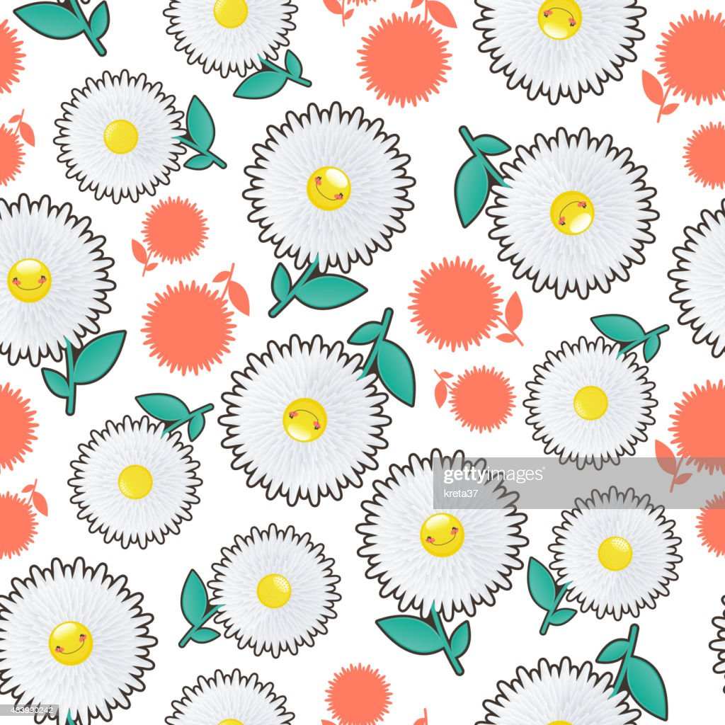 Illustration of a seamless background flowers cheerful daisie