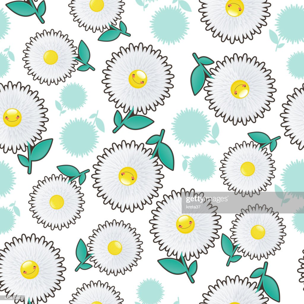 Illustration of a seamless background white flowers cheerful