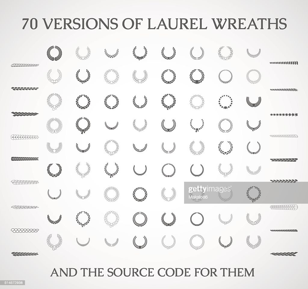 Illustration of a set of vector laurel wreaths .
