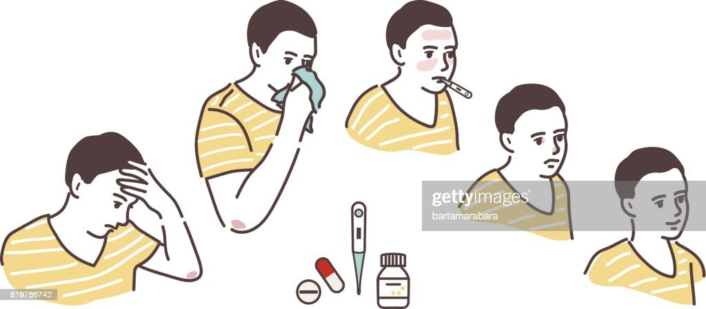 Illustration of a sickly condition: headache, high body temperature, runny nose.