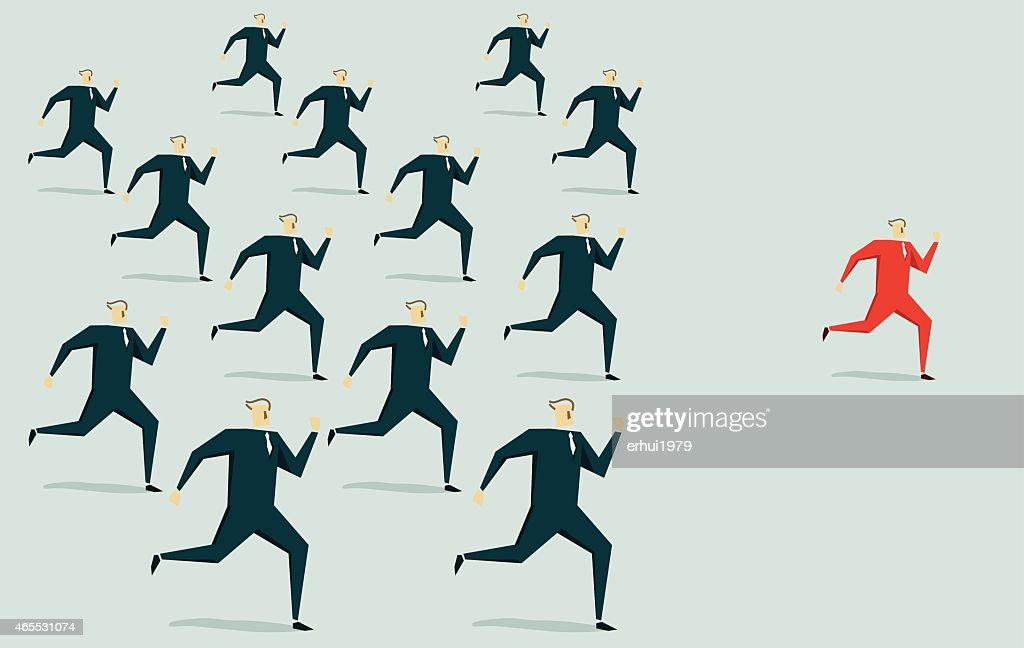 Illustration of a single red man standing out from the crowd