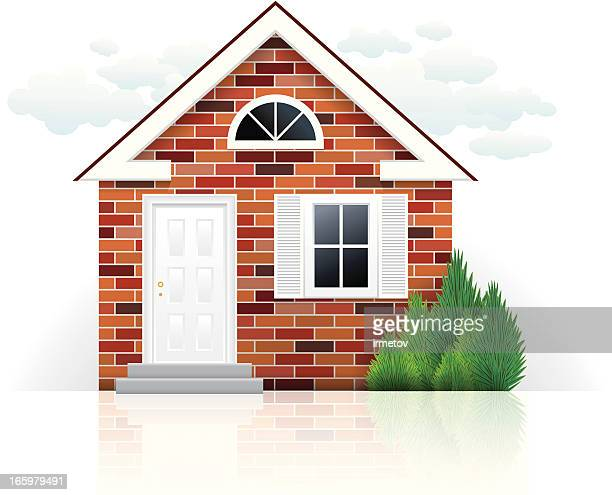 illustration of a small brick house with white door - brick house stock illustrations