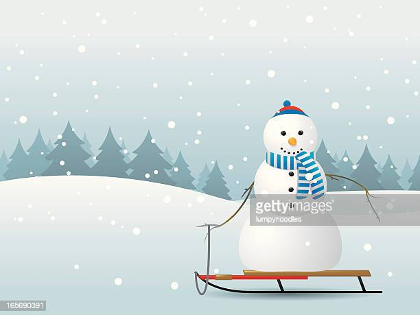 illustration of a snowman on a sled in a snowy forest - tobogganing stock illustrations, clip art, cartoons, & icons