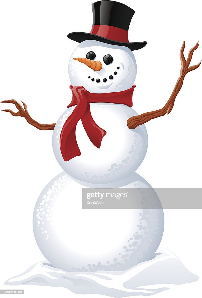 Illustration of a snowman wearing a red scarf