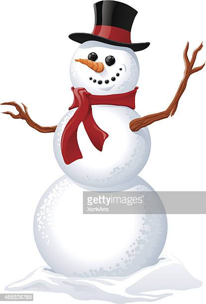 illustration of a snowman wearing a red scarf - snowman stock illustrations