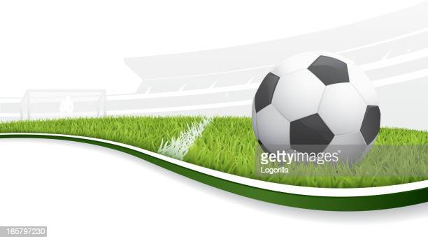 Illustration of a soccer ball in a field